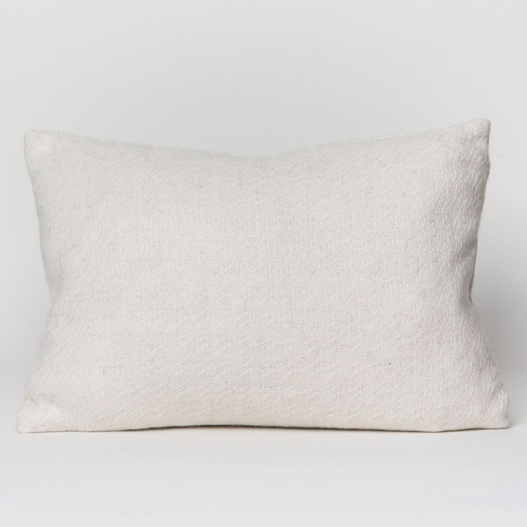 Fern Oblong Cushion - Natural White Alpaca - 0