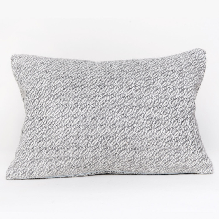 Fern Square Cushion - Natural Grey and White Alpaca - 0