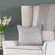 Fern Square Cushion - Natural Grey and White Alpaca - 1