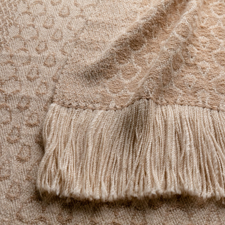 Handwoven Acorn Shawl - Natural Fawn and Cream Alpaca - 1