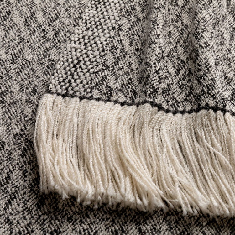 Handwoven Fallen Leaves Blanket Wrap - Natural Charcoal and White Alpaca - 1