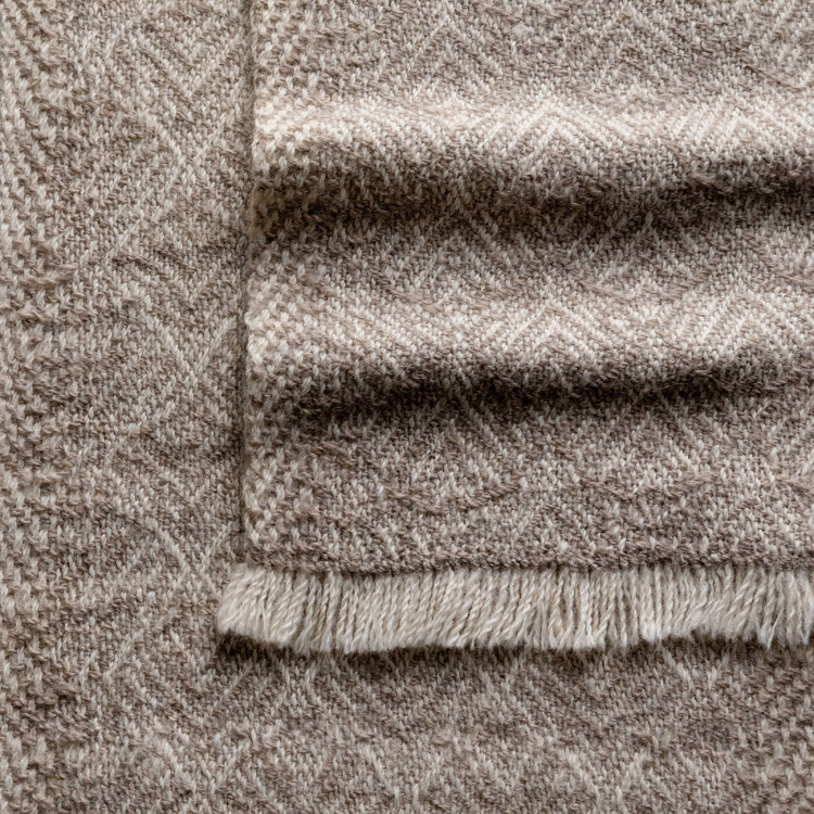 Handwoven Feather Scarf - Natural Light Grey and White Alpaca - 1