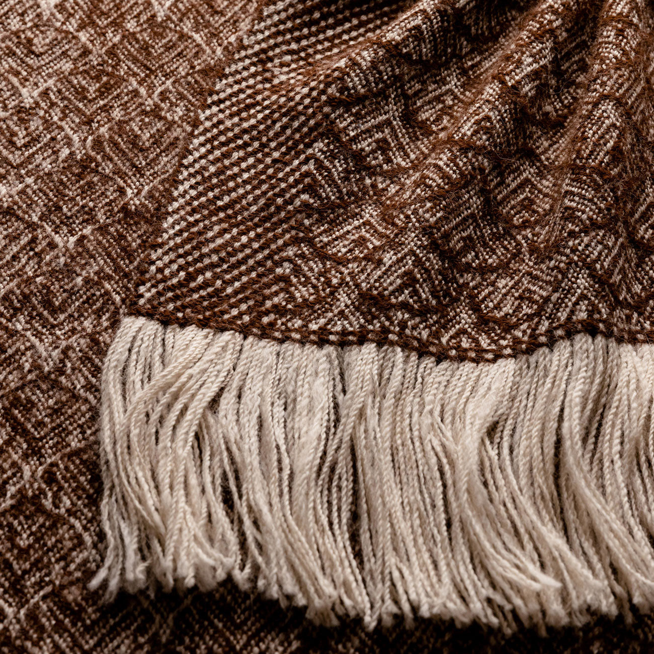 Handwoven Feather Wide Scarf - Natural Coffee and Cream Alpaca - 1