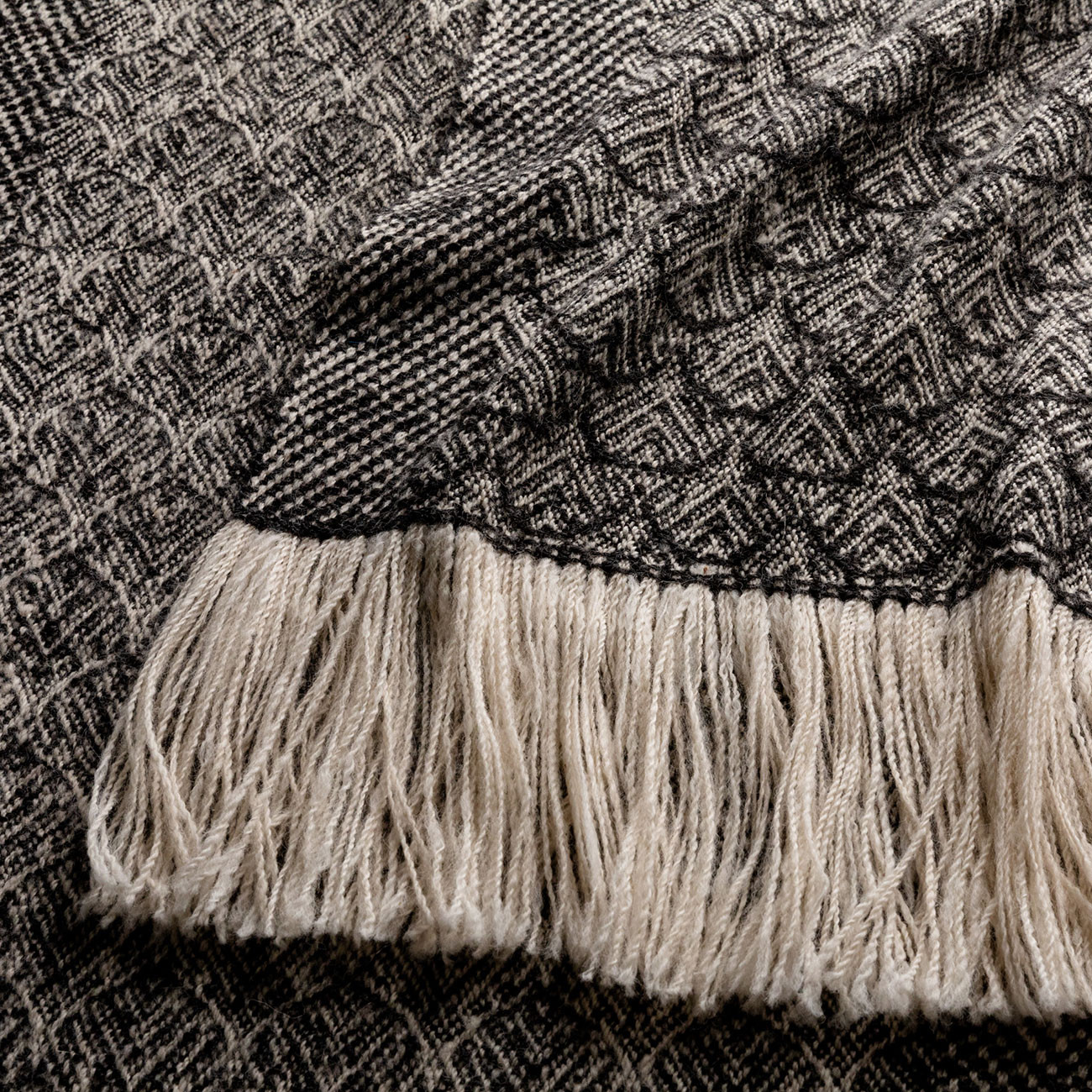 Handwoven Feather Wide Scarf - Natural Charcoal and Cream Alpaca - 2