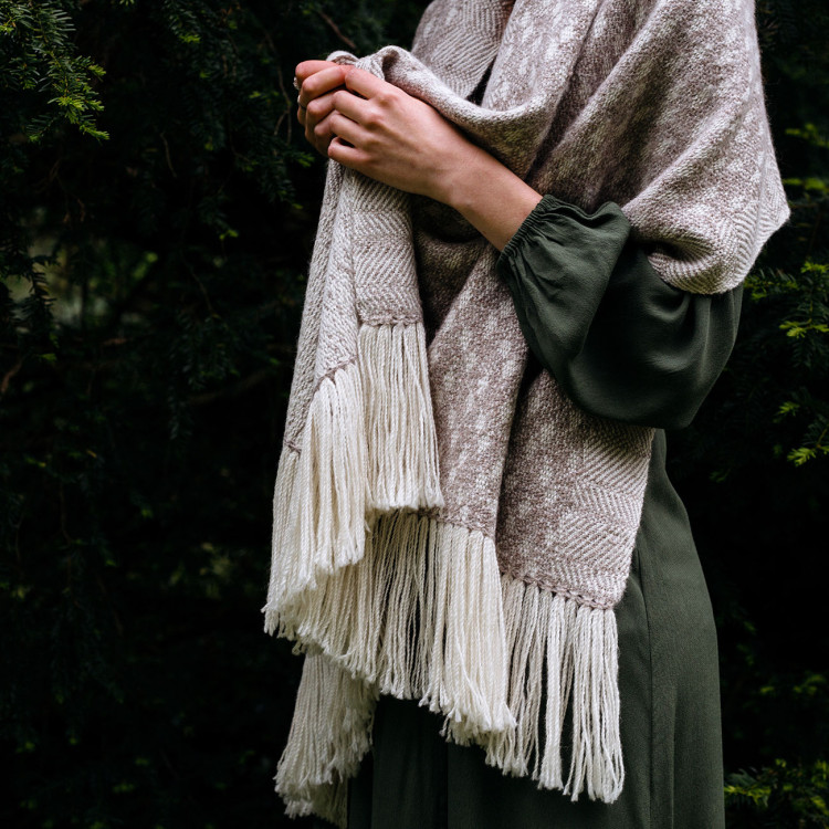 Handwoven Pebble Shawl - Natural Light Grey and White Alpaca - 1