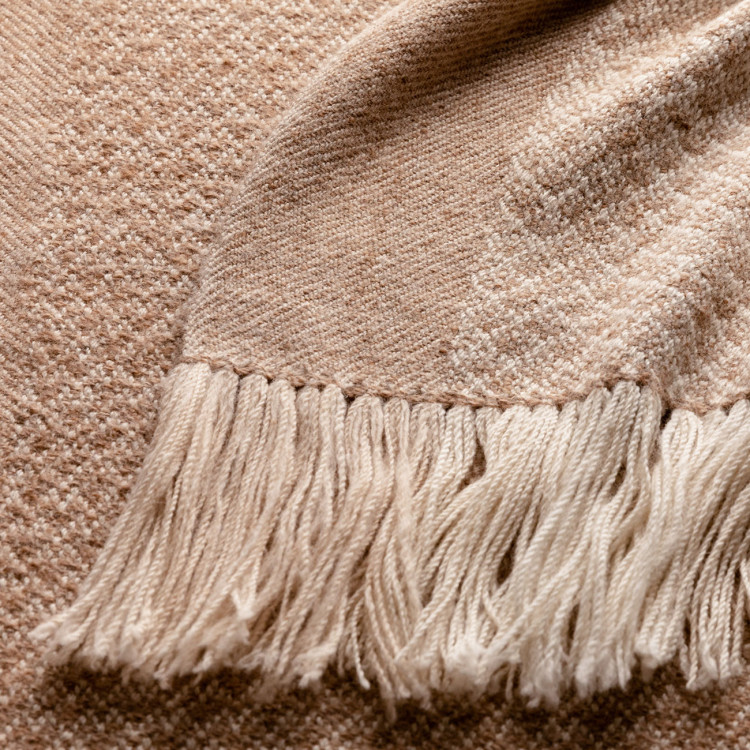 Handwoven Pinecone Throw - Natural Fawn, Cream and White Alpaca - 0