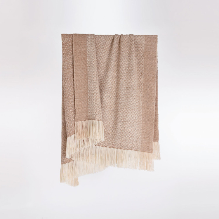 Handwoven Pinecone Throw - Natural Fawn, Cream and White Alpaca - 1