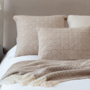 Handwoven Pinecone Throw - Natural Fawn, Cream and White Alpaca - 2
