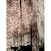 Handwoven Pinecone Throw - Natural Fawn, Cream and White Alpaca - 3