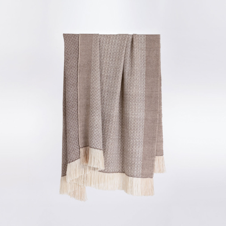 Handwoven Pinecone Throw - Natural Rose Grey, Cream and White Alpaca - 0