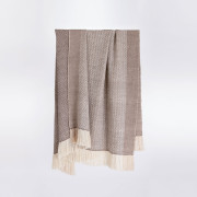 Handwoven Pinecone Throw - Silver Brown, Cream and White Alpaca - 0