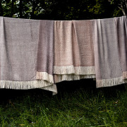 Handwoven Pinecone Throw - Silver Brown, Cream and White Alpaca - 2