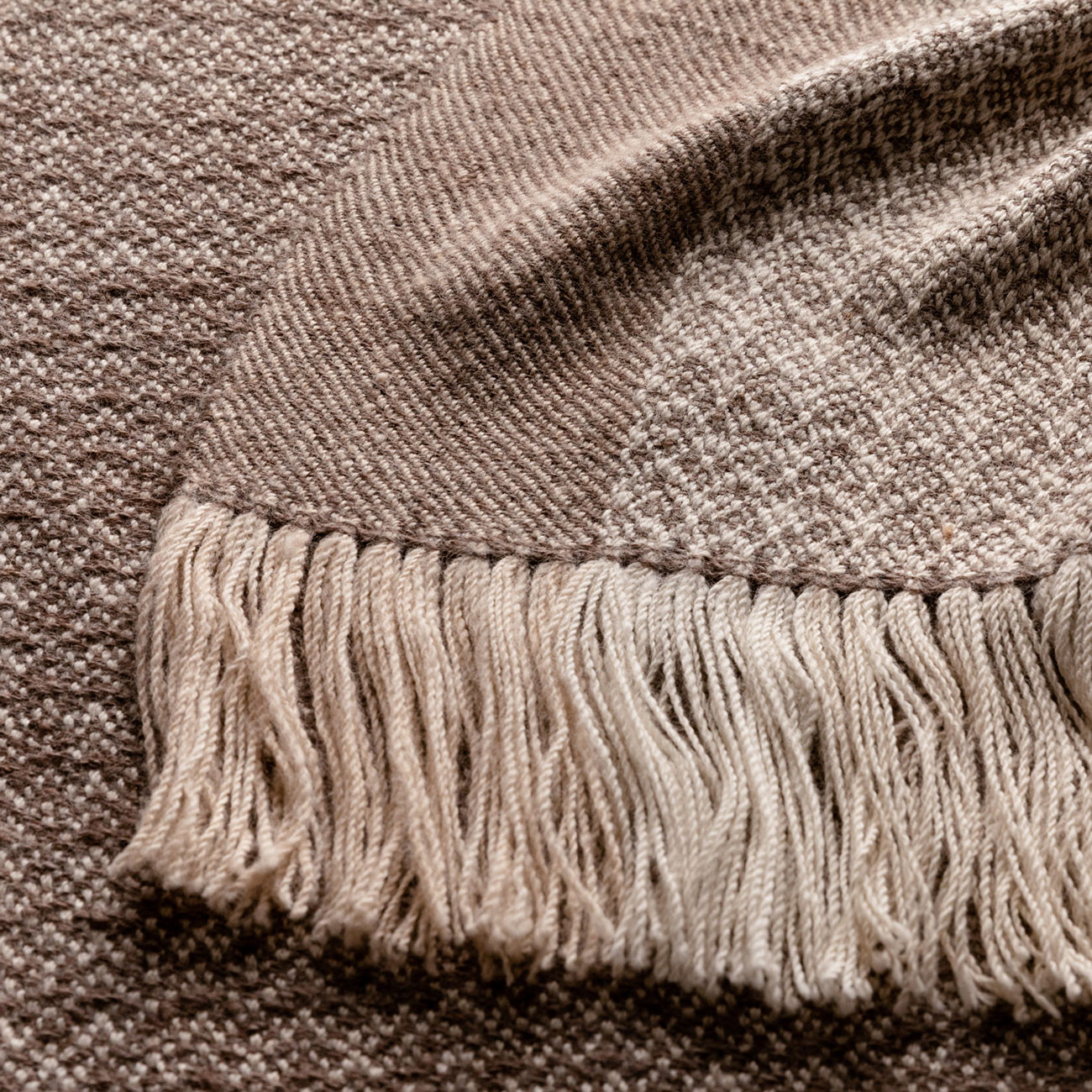 Handwoven Pinecone Throw - Silver Brown, Cream and White Alpaca - 3