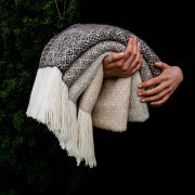 Handwoven Pinecone Wide Scarf - Natural Fawn and White Alpaca - 1
