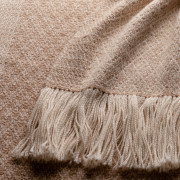 Handwoven Pinecone Wide Scarf - Natural Fawn and White Alpaca - 2