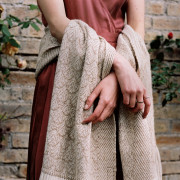 Handwoven Rose and Alpaca Feather Wide Scarf - Natural Fawn and Cream Alpaca and Rose Fibre - 1