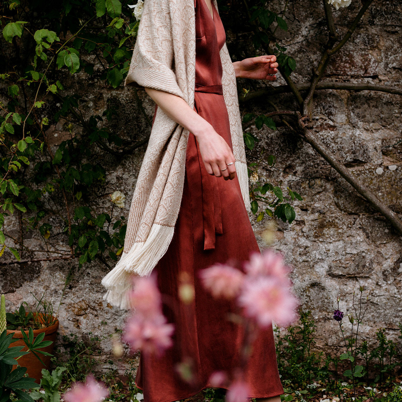 Handwoven Rose and Alpaca Feather Wide Scarf - Natural Fawn and Cream Alpaca and Rose Fibre - 2