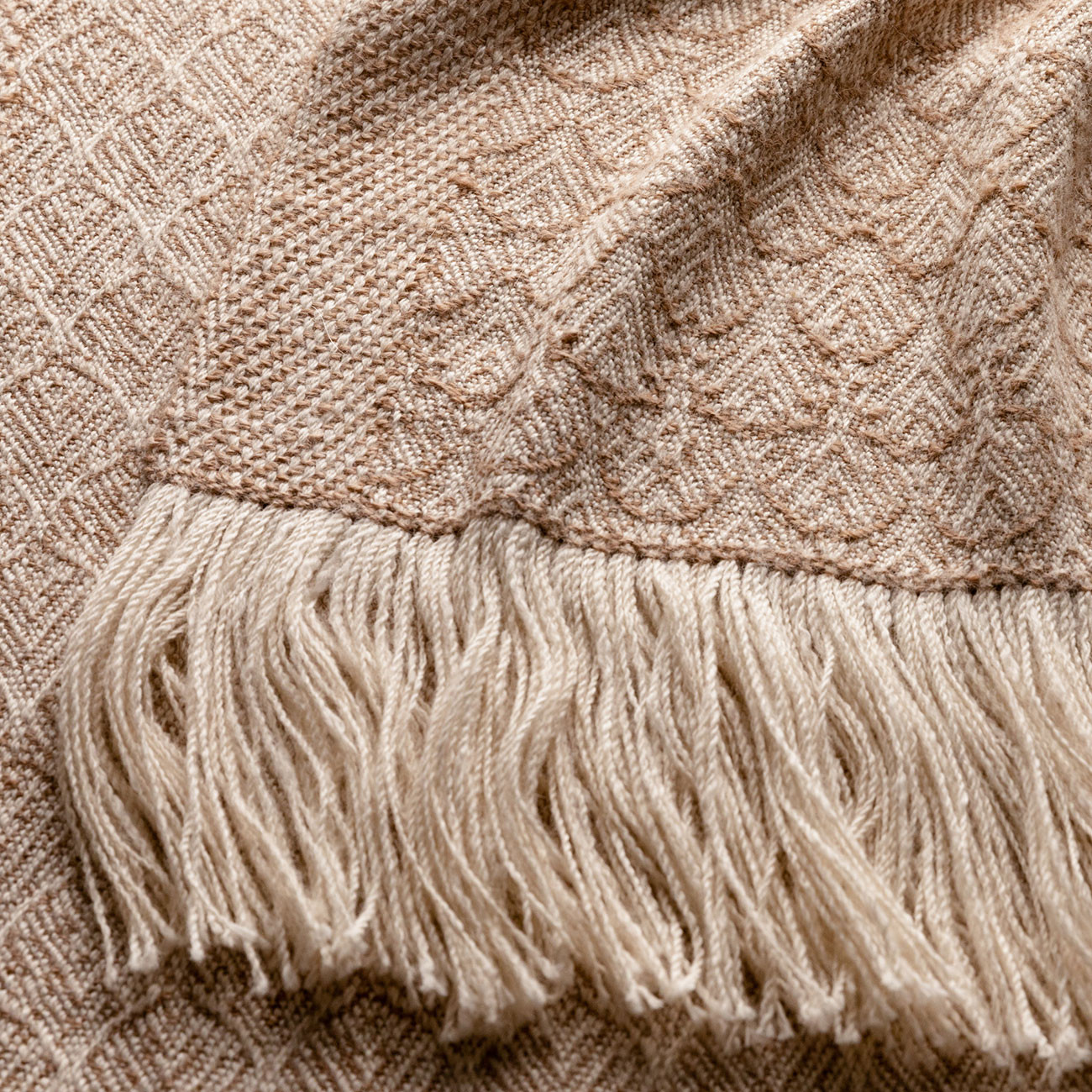 Handwoven Rose and Alpaca Feather Wide Scarf - Natural Fawn and Cream Alpaca and Rose Fibre - 3