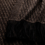 Handwoven Staffa Blanket Wrap - Natural Silver Brown and Black Alpaca - 1