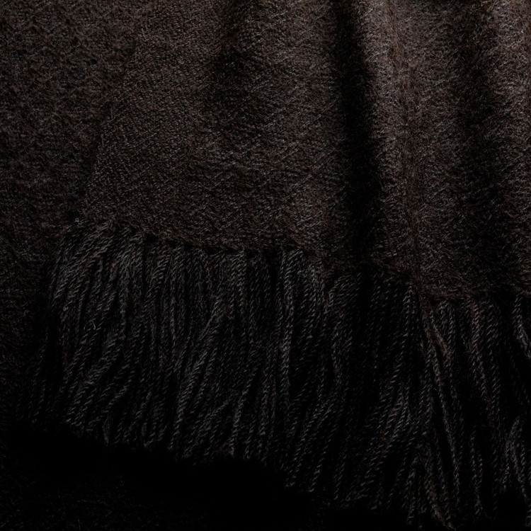 Handwoven Staffa Blanket Wrap - Natural Black Alpaca - 1