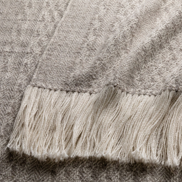 Handwoven Staffa Shawl - Natural Light Grey and Cream Alpaca - 1