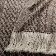 Handwoven Staffa Shawl - Striped Natural Silver Brown and Cream Alpaca - 1