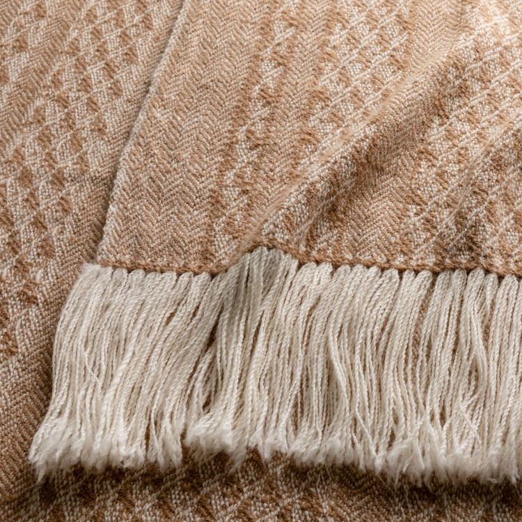 Handwoven Staffa Shawl - Natural Caramel and Cream Alpaca - 1