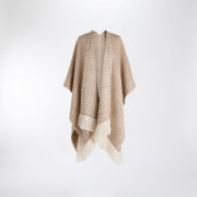 Handwoven Sycamore Blanket Wrap - Natural Fawn and White Alpaca - 0