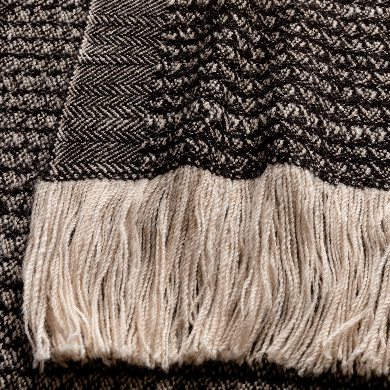 Handwoven Sycamore Wide Scarf - Natural Black and Cream Alpaca - 1