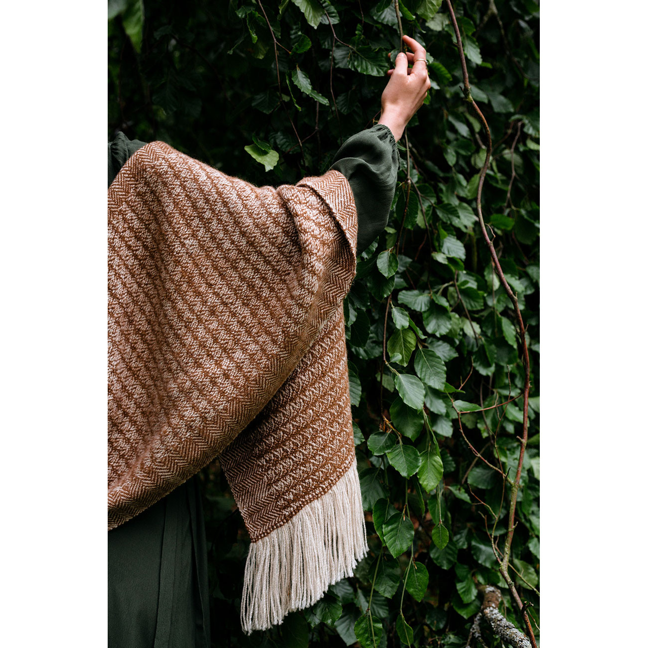 Handwoven Sycamore Wide Scarf - Natural Caramel and Cream Alpaca - 1