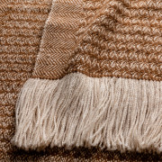 Handwoven Sycamore Wide Scarf - Natural Caramel and Cream Alpaca - 2