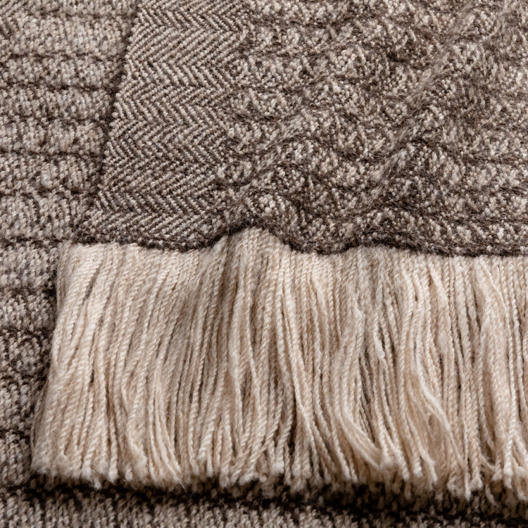 Handwoven Sycamore Wide Scarf - Striped Natural Silver Brown and Cream Alpaca - 1