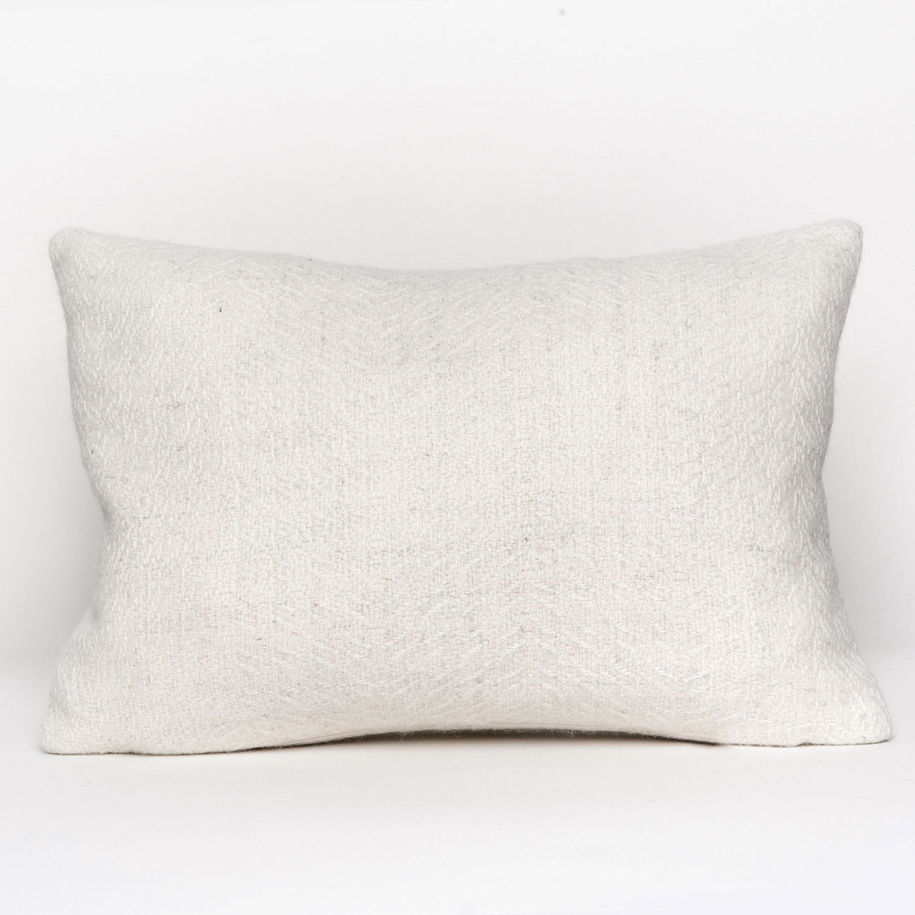 Herringbone Oblong Cushion - Natural White Alpaca - 0