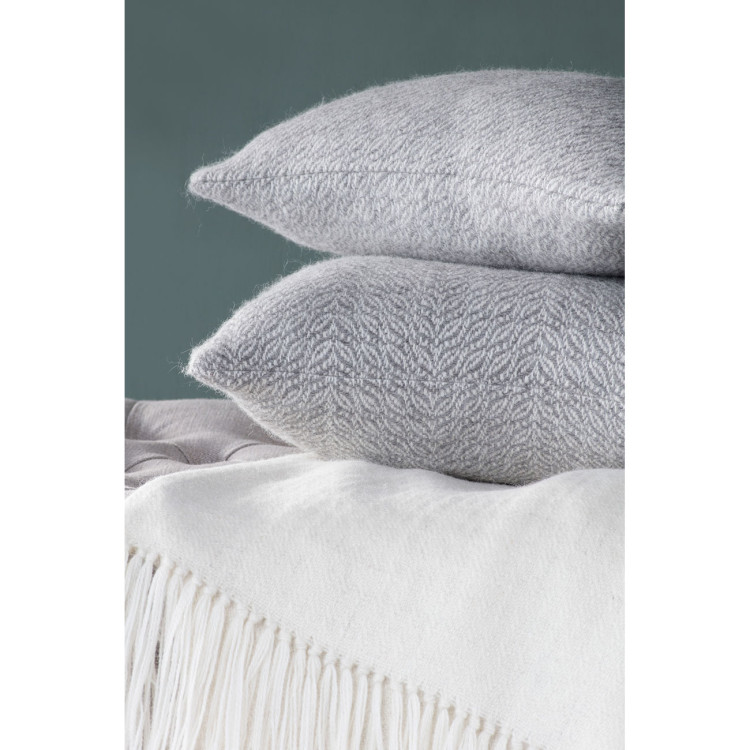 Herringbone Oblong Cushion - Natural Grey and White Alpaca - 0