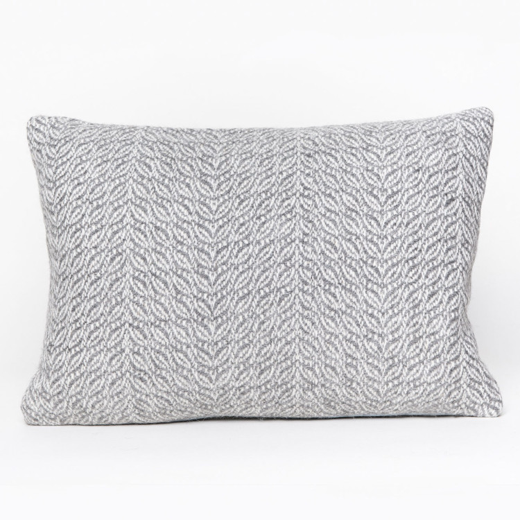 Herringbone Oblong Cushion - Natural Grey and White Alpaca - 1