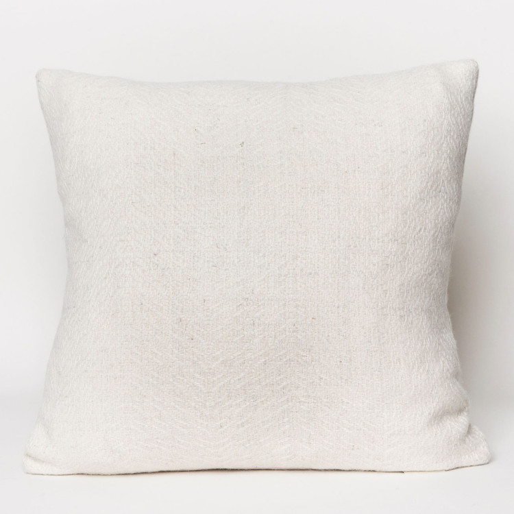 Herringbone Square Cushion - Natural White Alpaca - 0