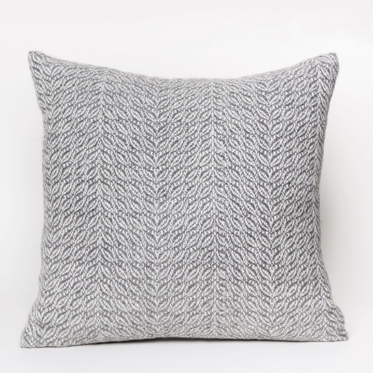 Herringbone Square Cushion - Natural Grey and White Alpaca - 0