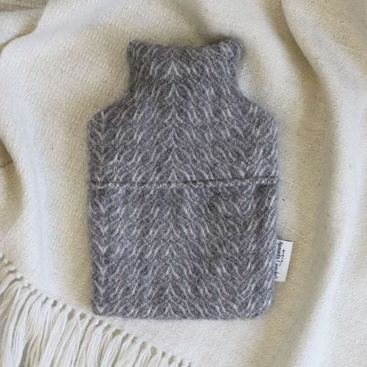 Hot Water Bottle - Natural Grey and White Alpaca - 0