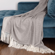 Willow Throw - Natural Grey and White Alpaca - 1