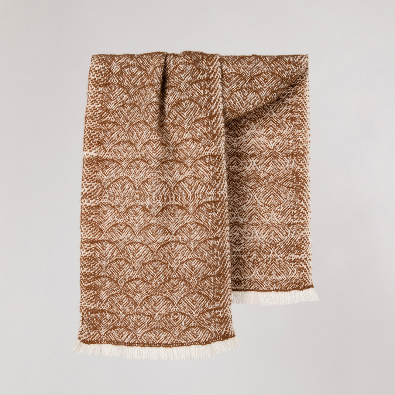 Handwoven Feather Scarf - Natural Caramel and White Alpaca - 0