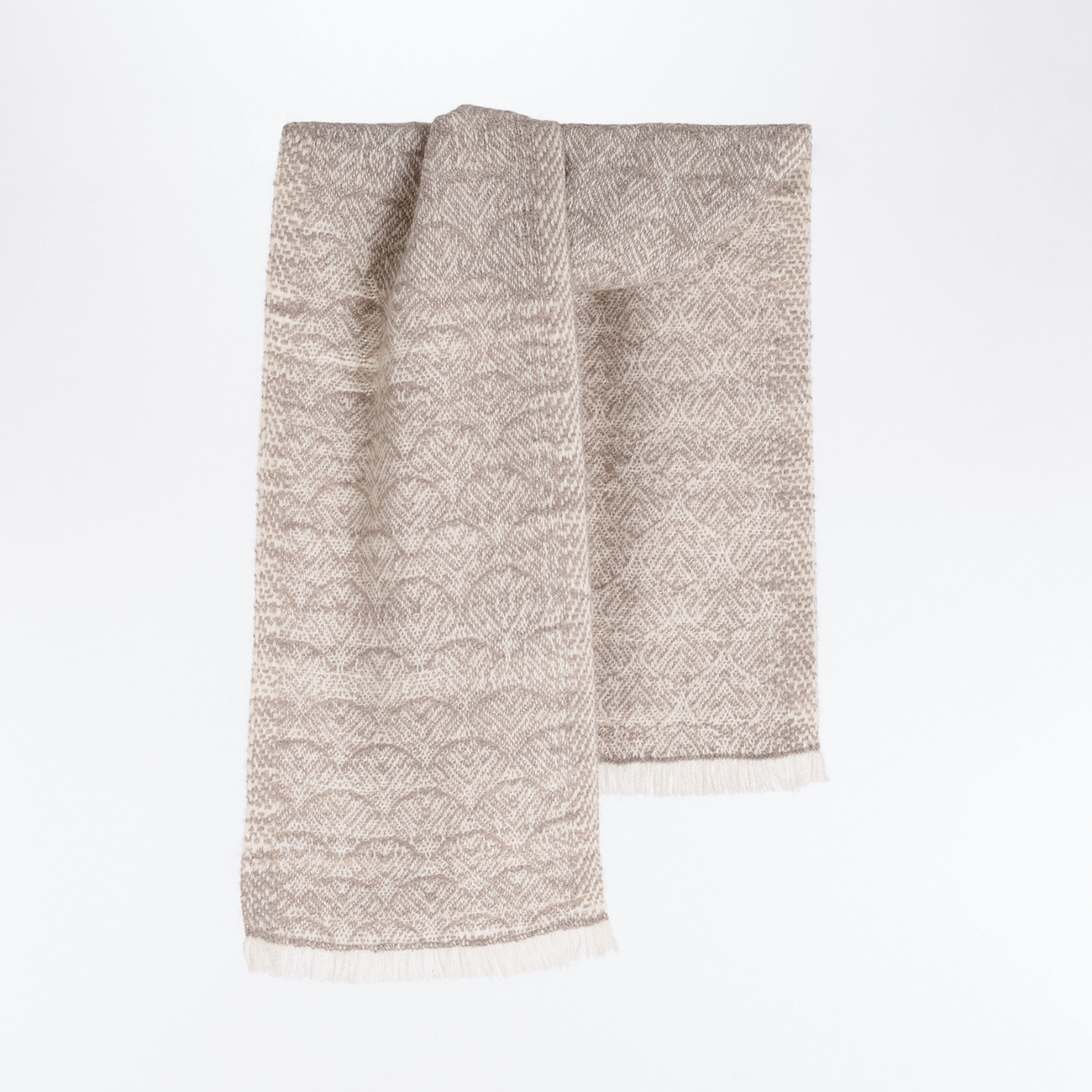 Handwoven Feather Scarf - Natural Light Grey and White Alpaca - 0