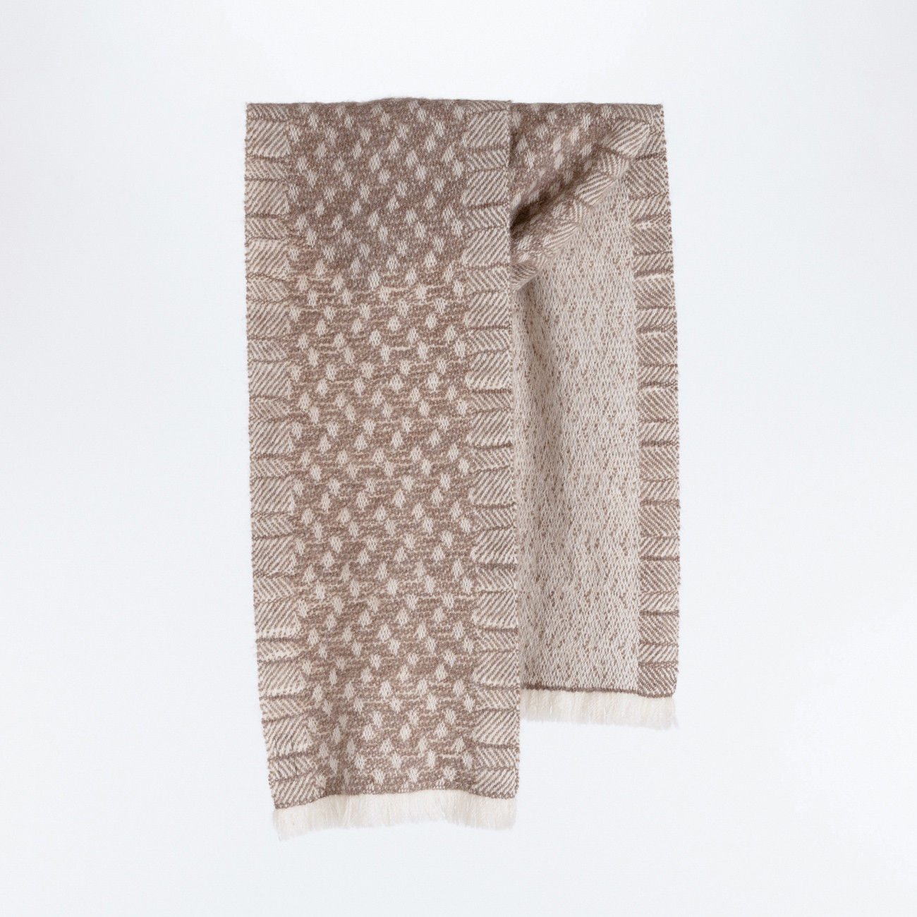 Handwoven Pebble Scarf - Natural Silver Brown and White Alpaca - 0
