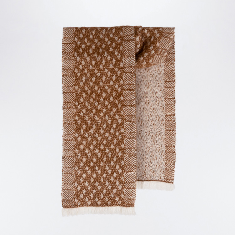 Handwoven Pebble Scarf - Natural Caramel and White Alpaca - 0