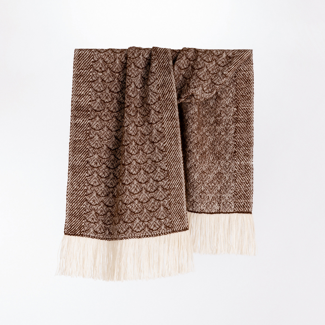 Handwoven Feather Wide Scarf - Natural Coffee and Cream Alpaca - 0