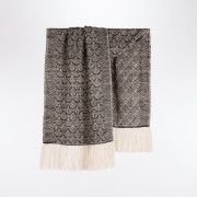 Handwoven Feather Wide Scarf - Natural Charcoal and Cream Alpaca - 0