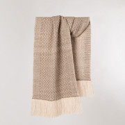Handwoven Pinebark Wide Scarf - Natural Rose Grey and Cream Alpaca - 0