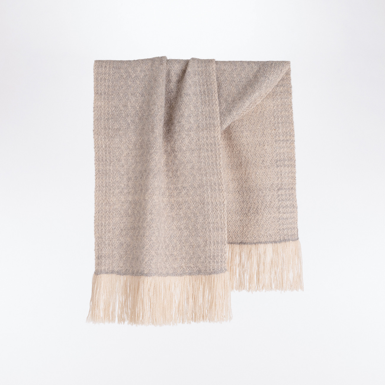 Handwoven Pinebark Wide Scarf - Natural Light Grey and Cream Alpaca - 0