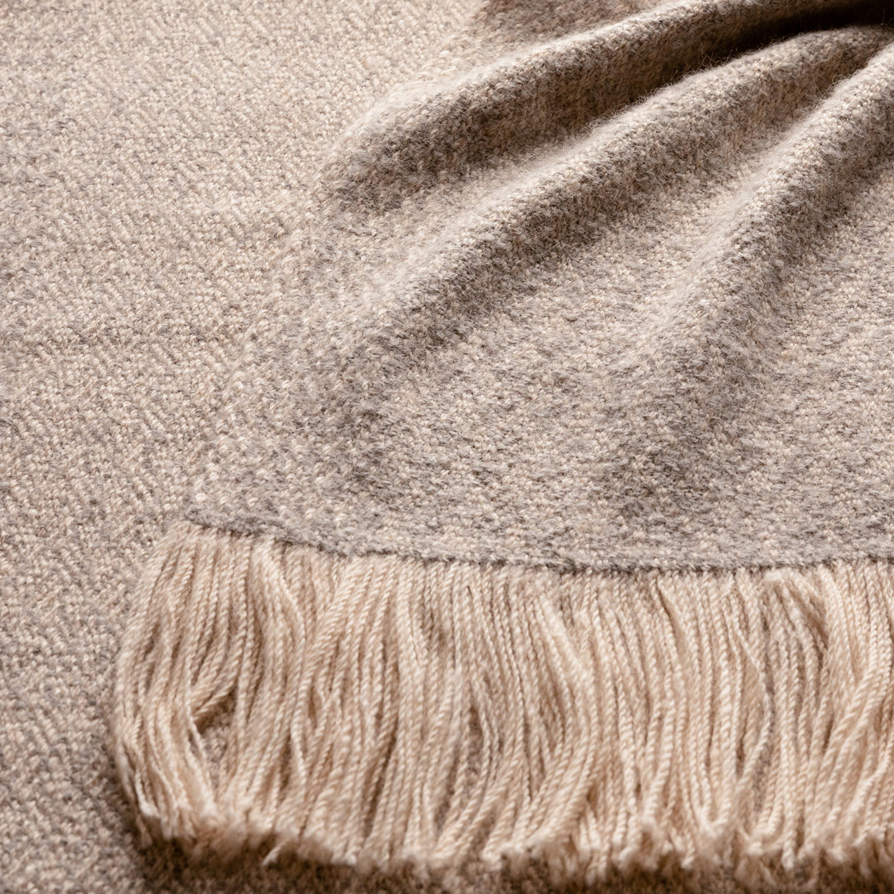 Handwoven Pinebark Wide Scarf - Natural Light Grey and Cream Alpaca - 1
