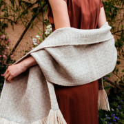 Handwoven Pinebark Wide Scarf - Natural Light Grey and Cream Alpaca - 2