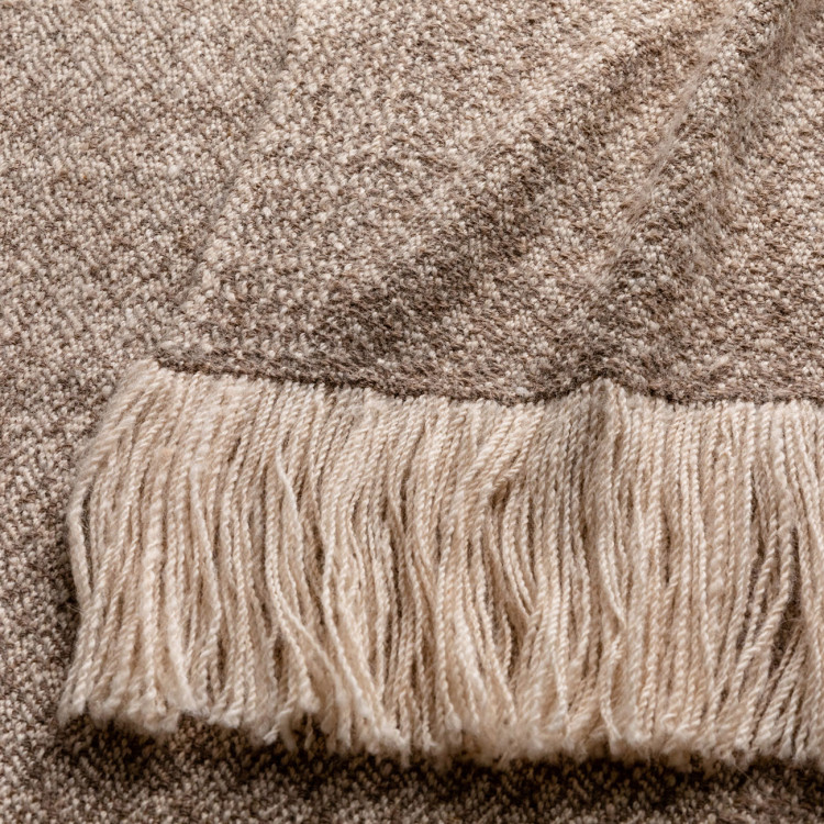 Handwoven Pinebark Wide Scarf - Natural Rose Grey and Cream Alpaca - 1